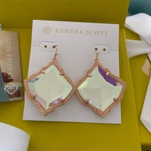 Kirsten Rose Gold Drop Earring in Dichroic Glass